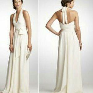 Ivory J. Crew Halter Wedding Dress